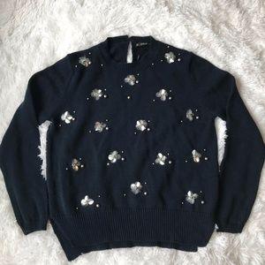 Zara Knit Navy Floral Sweater Size Large